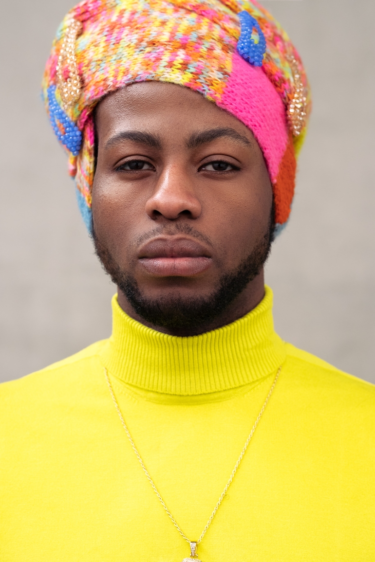 black male headwrap model-